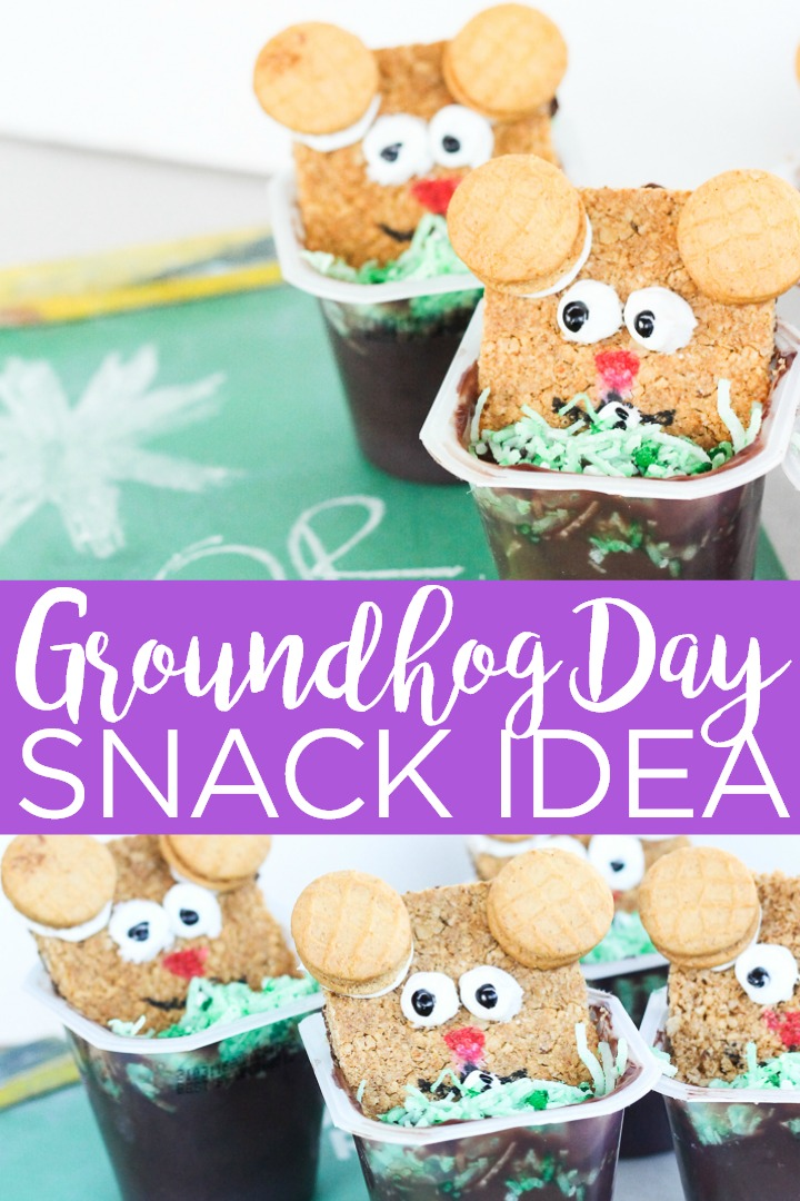 Make a groundhog day snack in minutes for your little one! This quick and easy groundhog day idea is great for kids and parties! #groundhogday #snack #kids #pudding #snackidea #party #partyidea