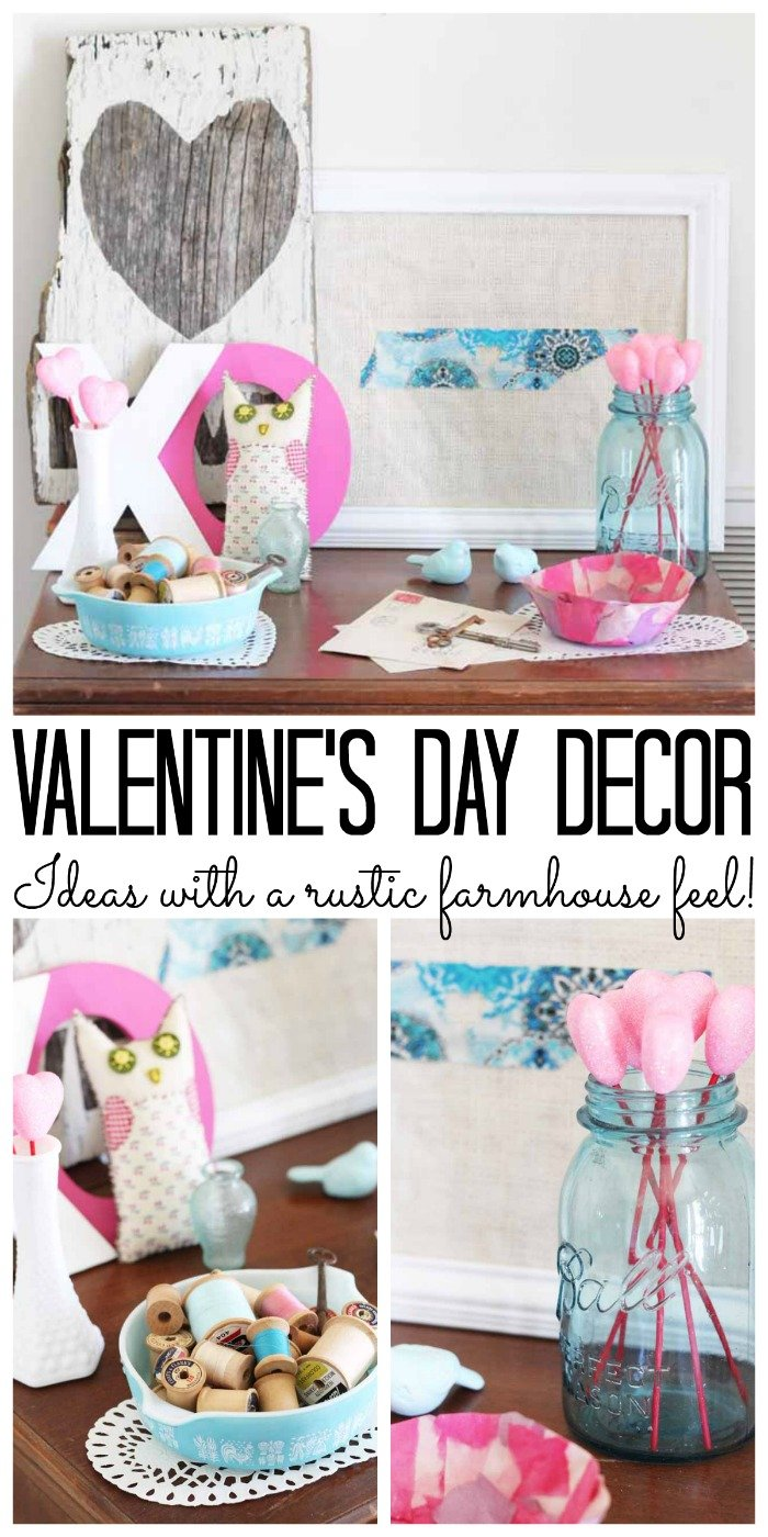 Valentine's Day decor with a farmhouse feel!  #valentinesday #farmhouse