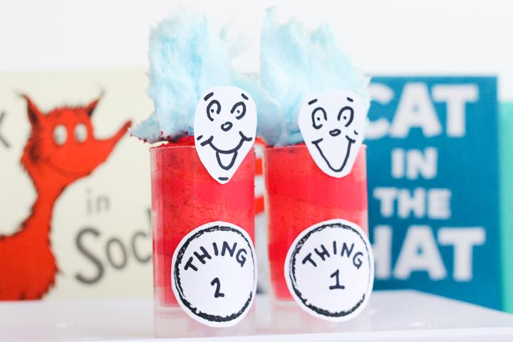 adorable Thing 1 and Thing 2 cupcakes