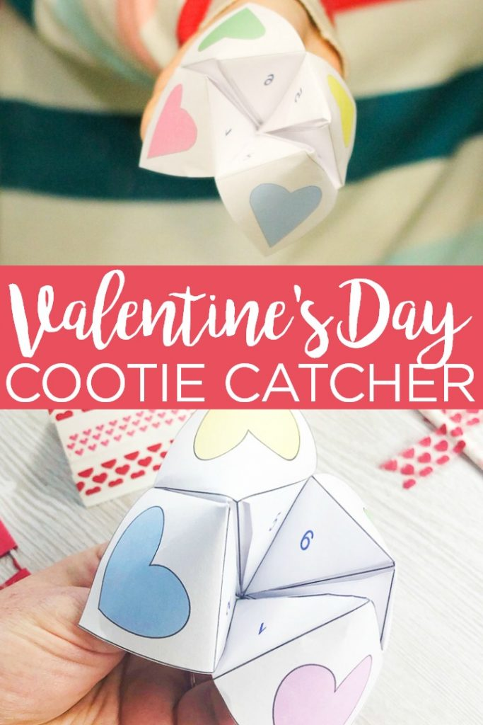 Download this Valentine's Day cootie catcher and use it for any party this year! This free printable fortune teller will be a hit with kids of all ages! #valentine #valentinesday #cootiecatcher #fortuneteller #printable #freeprintable