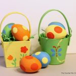 Painted Paper Mache Easter Baskets and Eggs-001