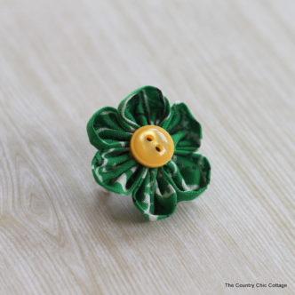 Green Kanzashi Flower Pin for Saint Patrick's Day
