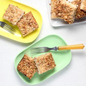 plated lemon bars for dessert