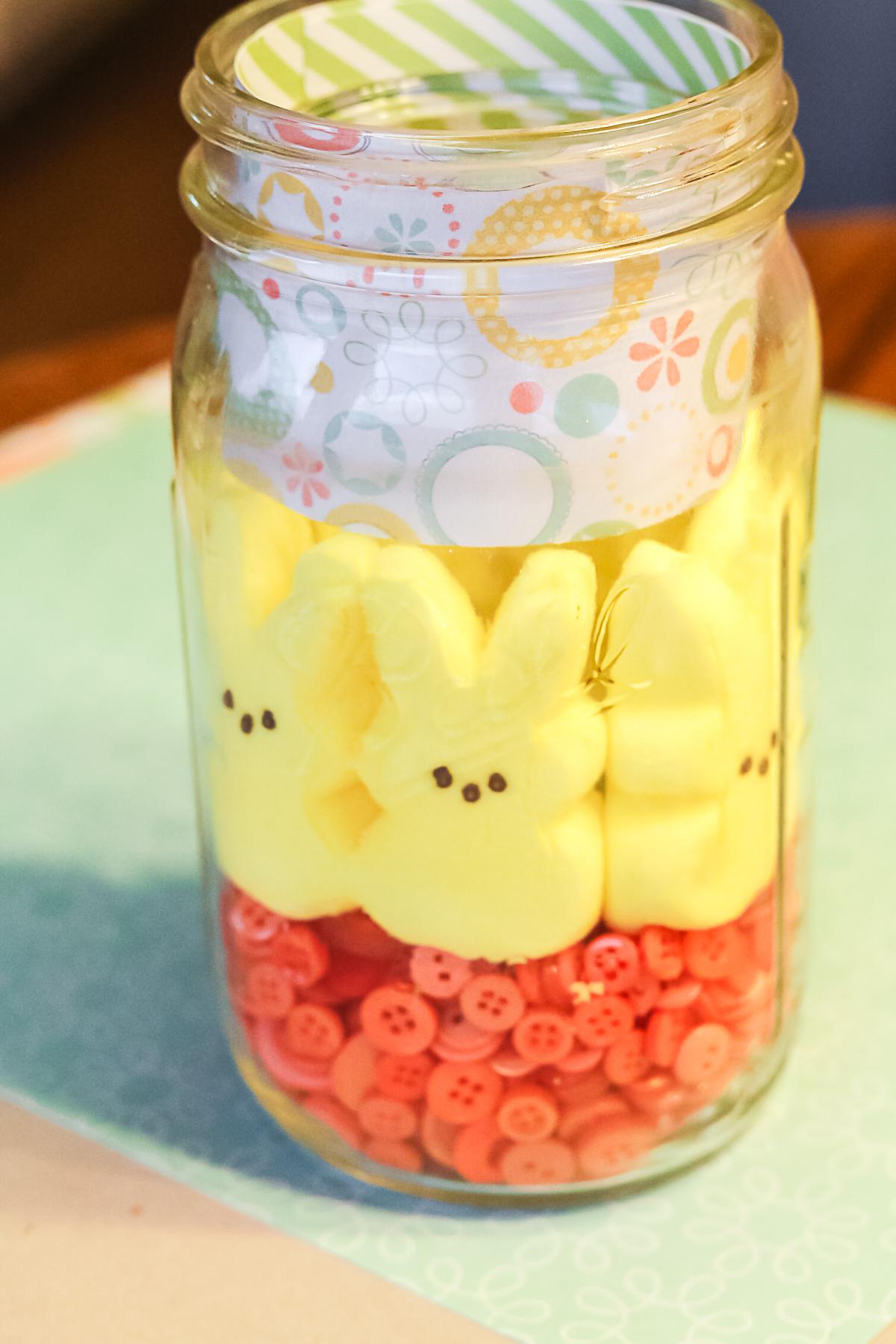 bunny-shaped peeps in a mason jar