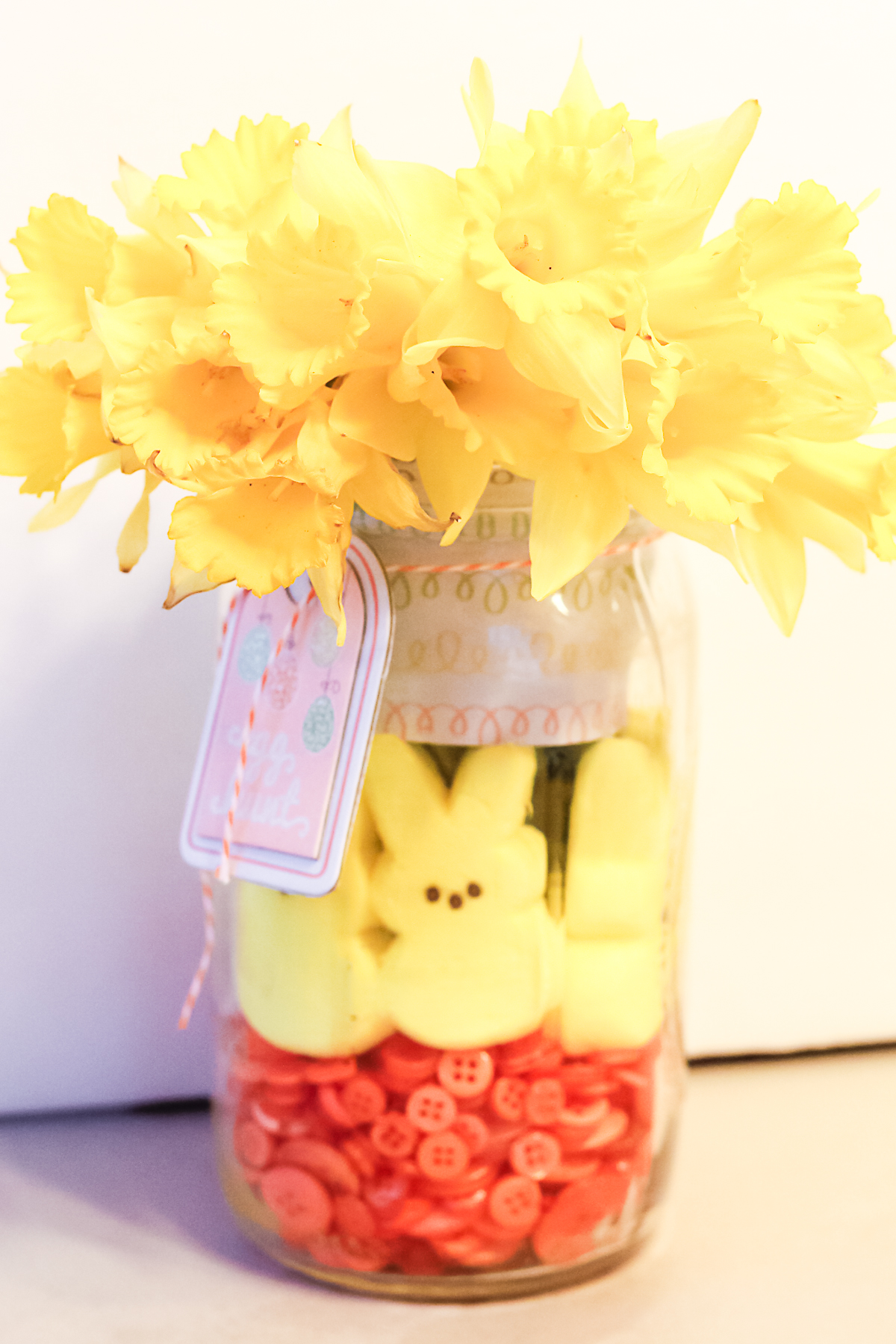 yellow flowers in a easter centerpiece