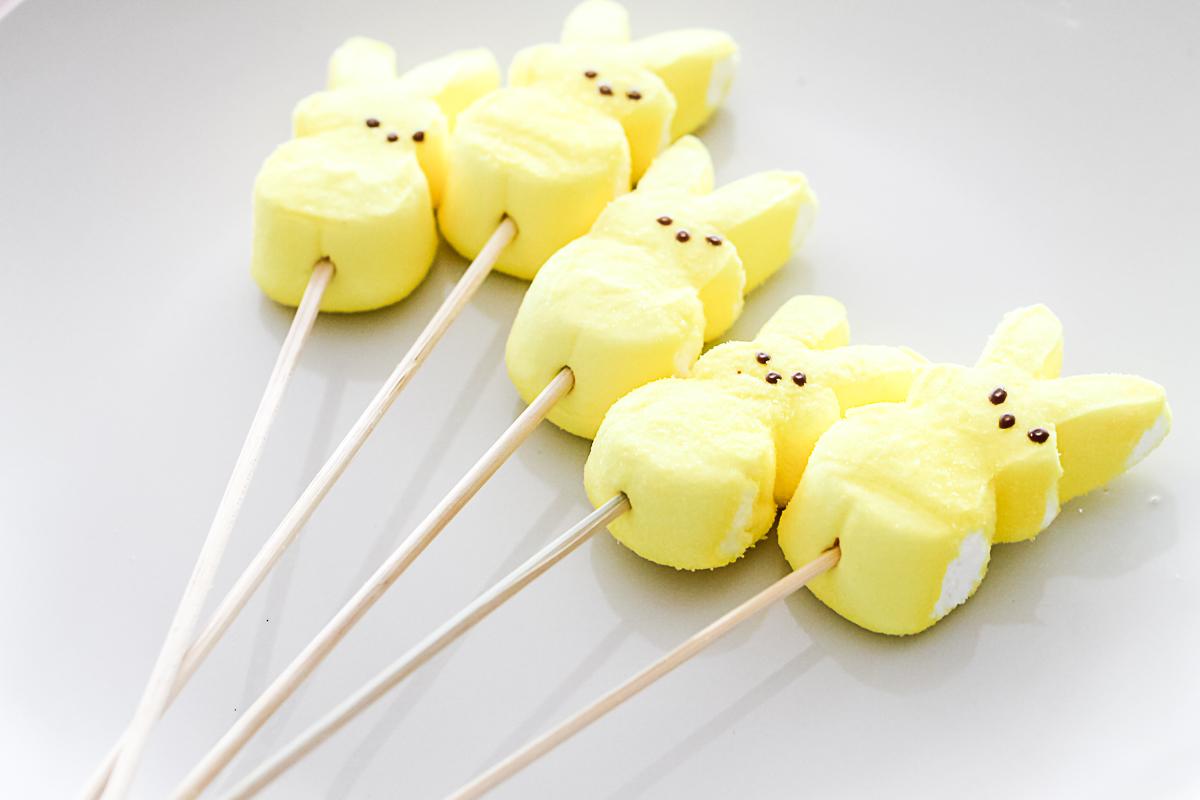 peeps marshmallows on a skewer