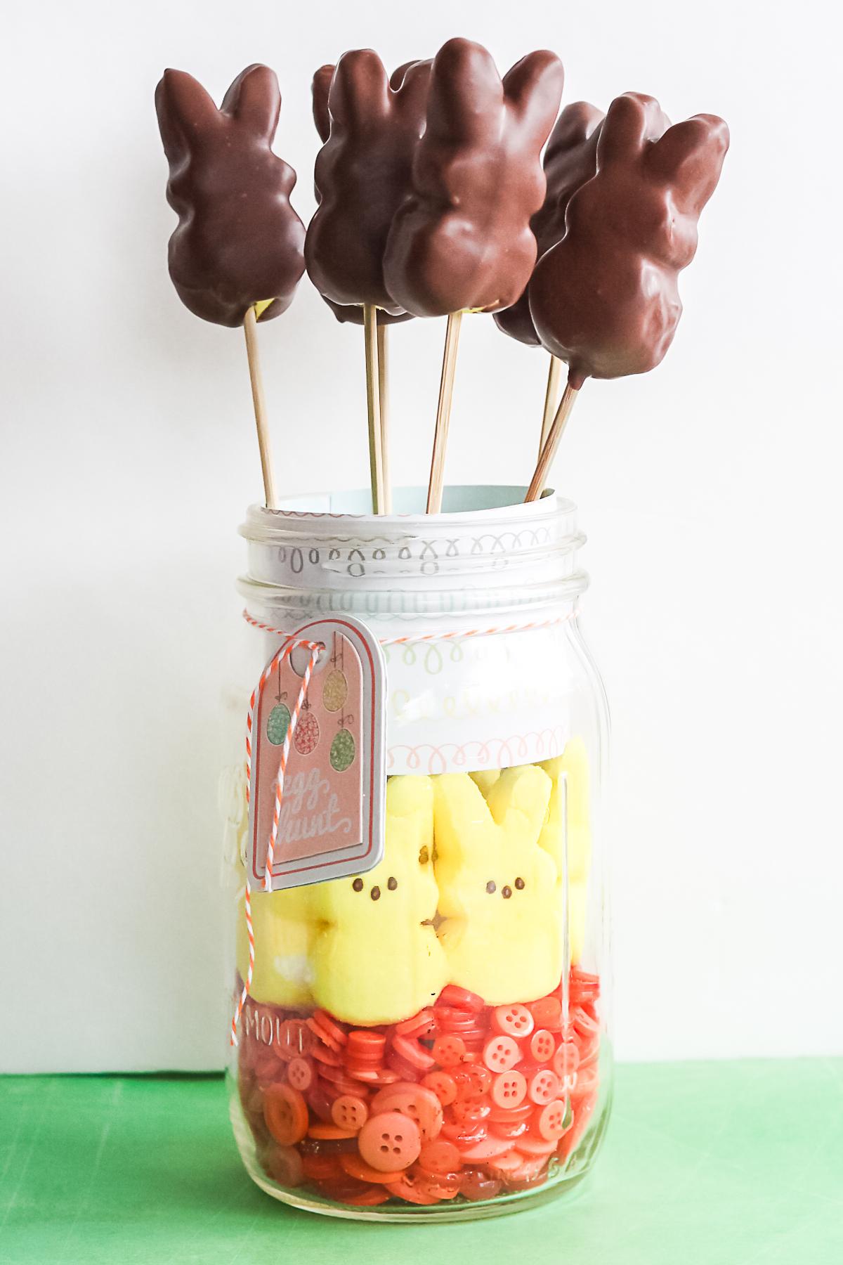 mason jar holding chocolate-covered peeps