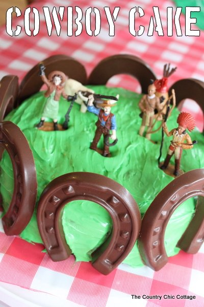 Birthday Cake Ideas -- Cowboy Cake and Cupcake Decorations