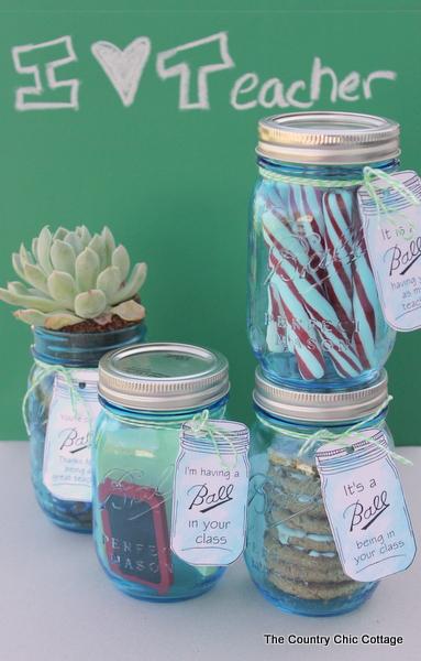 Teacher Appreciation Gift Ideas in Mason Jars