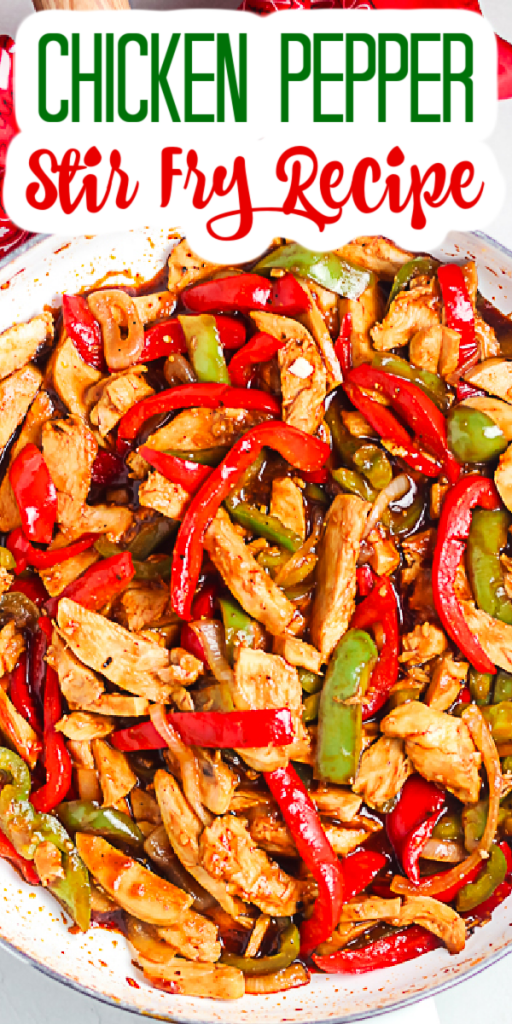 Make this chicken pepper stir fry recipe for your family tonight! An easy and unique weeknight meal that your family will love! #chicken #chickenrecipe #stirfry