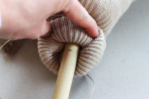 marking location for horse head on dowel rod