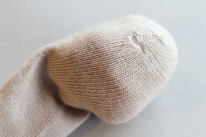adding fiberfill to toe of the sock