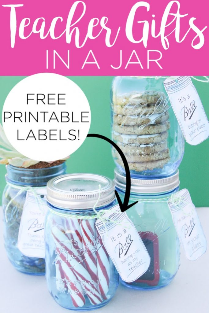 These mason jar gift ideas for teachers are perfect for Teacher Appreciation Week! Print the free mason jar tags and use a few of these ideas for inexpensive gifts in a jar. #giftideas #masonjar #teachers #teacherappreciation #gifts #printable #freeprintable #printablegifttags