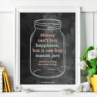 money can't buy happiness but it can buy mason jars with is kinda the same thing