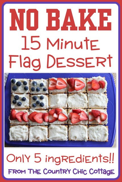 A great no bake way to add some patriotic flair to your summer celebration. Make this american flag dessert in less than 15 mintues!