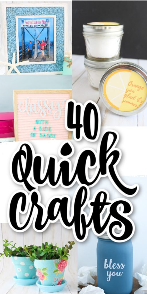These 40 ideas can all be made in 15 minutes or less! Now that is some quick crafting that everyone will love! #quickcrafts #crafts #crafting #easycrafts