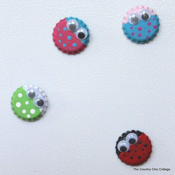 Bug Magnet Kids Craft With Bottle Caps The Country Chic