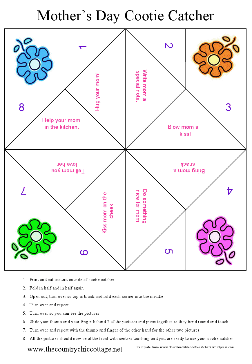 Mothers day cootie catcher free printable the country chic cottage there are folding instructions on the bottom but if you have trouble there is also a great description over on wikipedia yes cootie catchers are even on maxwellsz