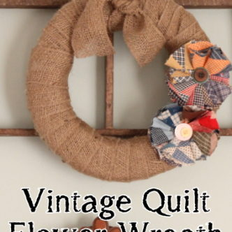 Vintage Quilt Flower Wreath with Burlap — LIVE Video Tutorial