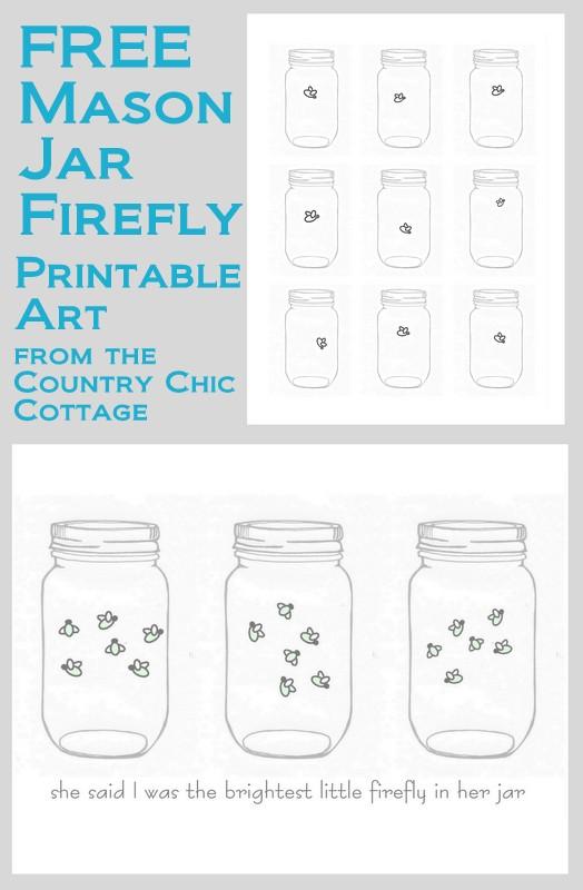 Mason Jar Firefly Free Printable Art The Country Chic
