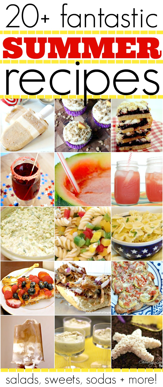 A must see list of over 20 summer recipes that will please your family this year.