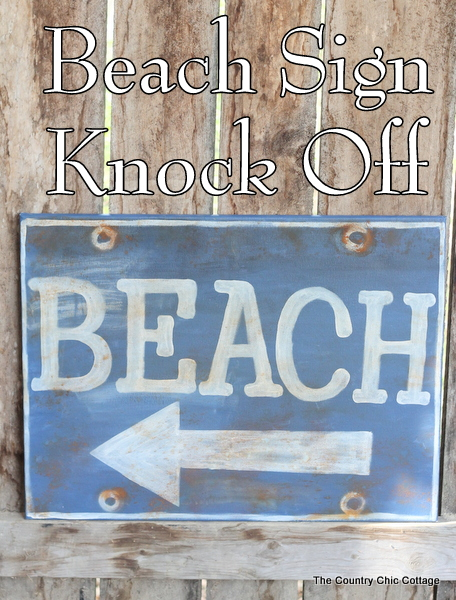 Ballard Designs Knock Off Beach Sign -- a great technique for getting a rusty appearance on a painted sign easily. You probably already have the secret ingredient in your kitchen!