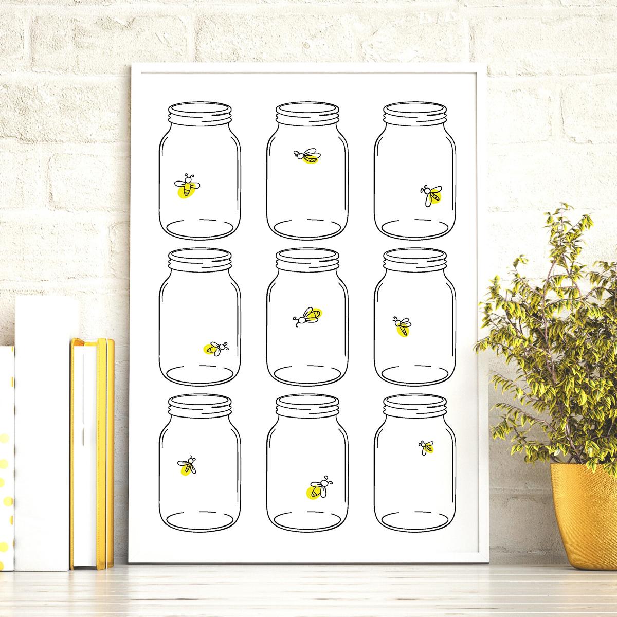 mason jar firefly art
