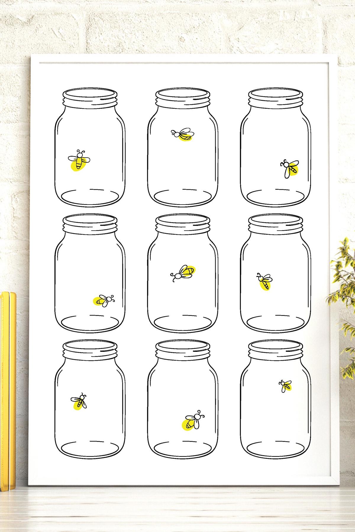 printable art with mason jars and fireflies