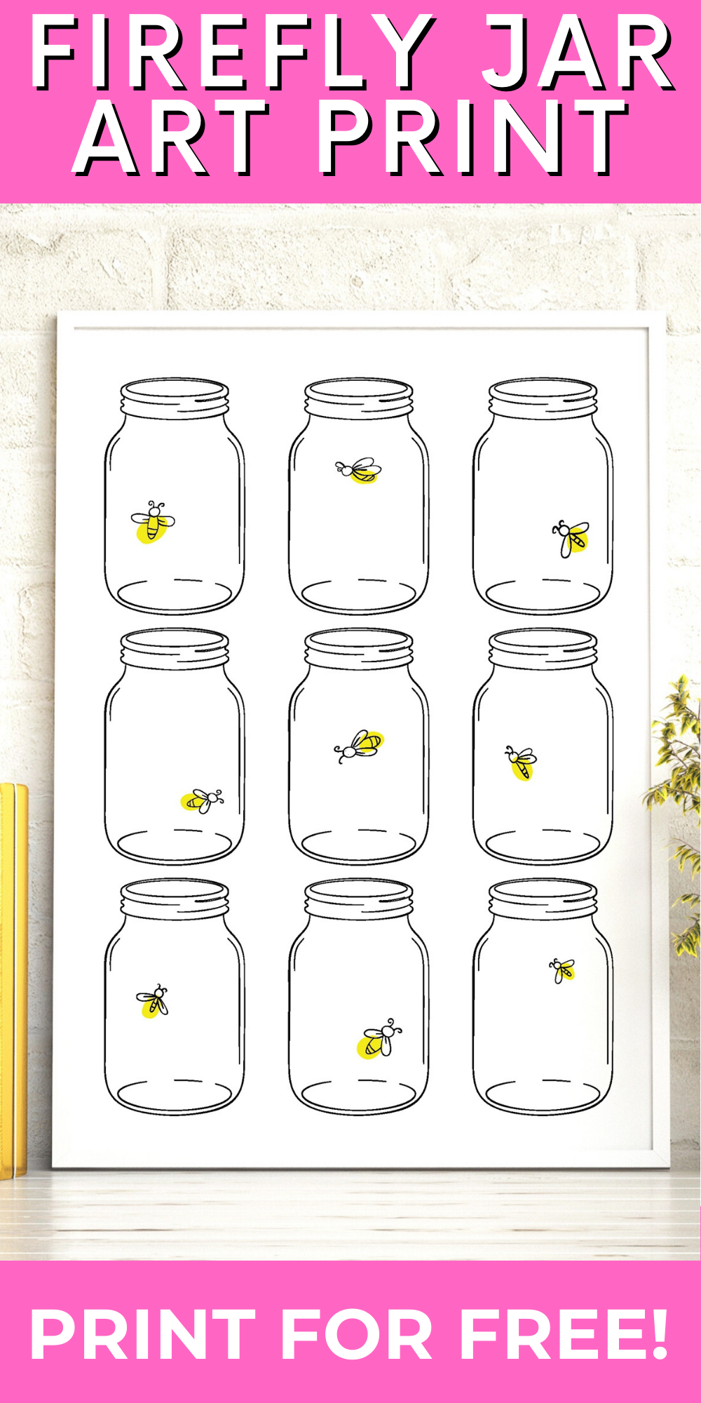 Grab this free printable art with mason jars and fireflies! This cute and whimsical art is perfect for just about any room in your home! #masonjar #freeprintable #printableart
