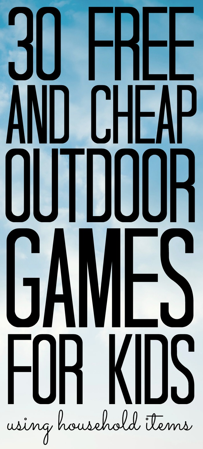 These free and cheap outdoor games for kids all use household items. A great way to beat the boredom this summer while still on a budget! #kids #summer