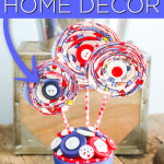 You can make this patriotic home decor easily in just a few minutes! Grab a few simple supplies and make your own for your home! #patriotic #4thofjuly #summer #decor #homedecor #americana #redwhiteandblue