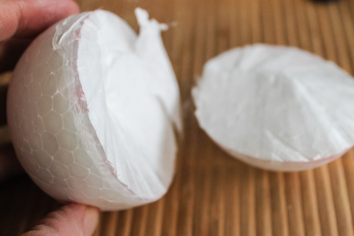 trimming a foam ball