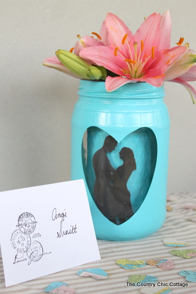 Silhouette Mason Jar Wedding Vase Centerpiece - The Country Chic Cottage