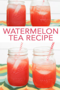 Make this watermelon tea recipe this summer for a refreshing twist on classic sweet tea! This yummy drink is the perfect refresher for summer nights! #summer #tea #watermelon