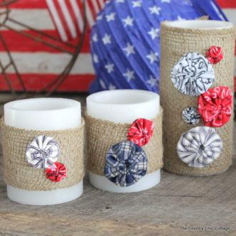 Patriotic Burlap Yo-yo Candle Wraps
