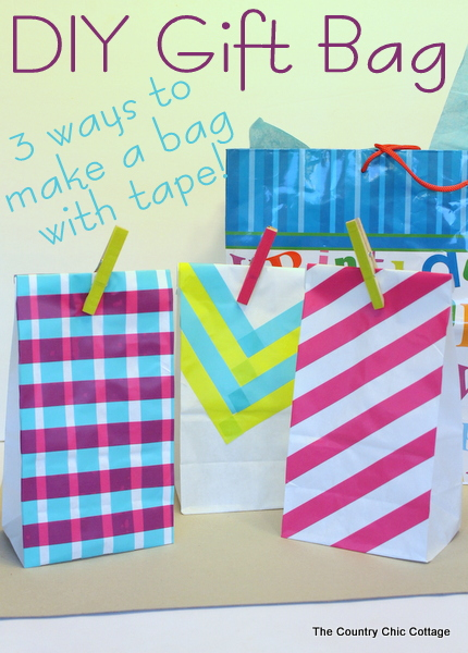 DIY Gift Bags -- 3 ways to turn a plain white lunch sack into a gift bag using just tape. A super quick and easy way to update your gifts and make them extra special.