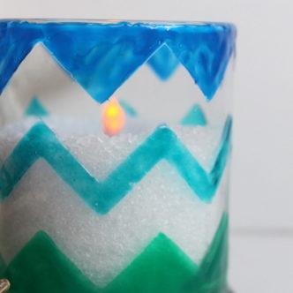 Chevron Beach Themed Candle Holders