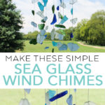 Make these simple sea glass wind chimes with just a few supplies! These beach themed wind chimes are just what your home needs this summer! #seaglass #beach #crafts #windchimes