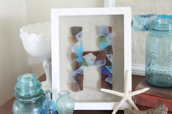Framed Sea Glass Monogram