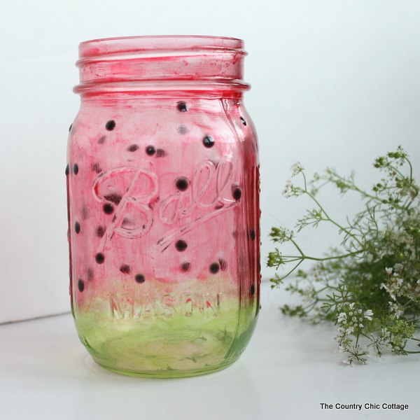 Mason Jar Decorations Part - 31: Watermelon Mason Jar -- Learn How To Paint A Great Watermelon Mason Jar  Craft For