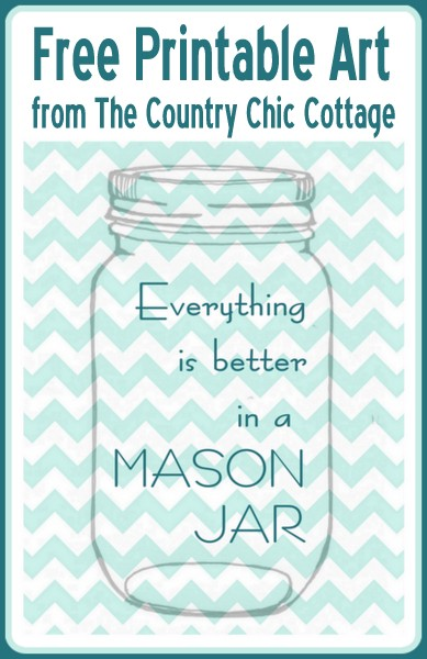 photograph relating to Free Printable Mason Jar Template named All the things is Far better within a Mason Jar Free of charge Printable Artwork - The