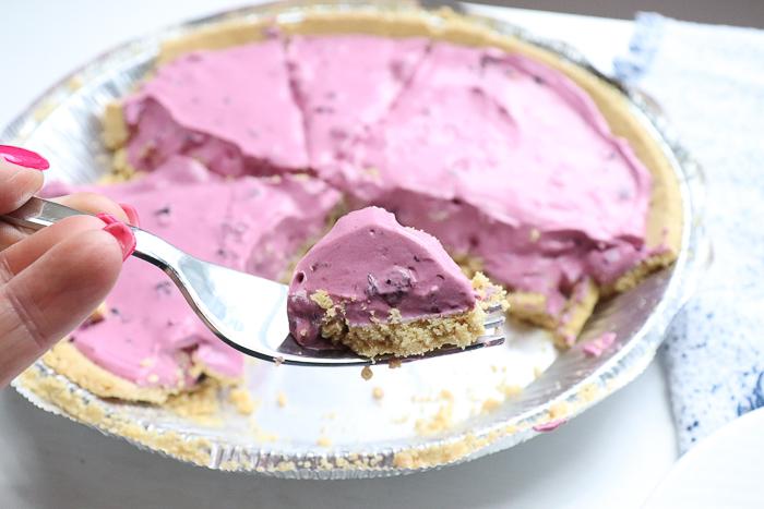 cream pie with blueberry pie filling