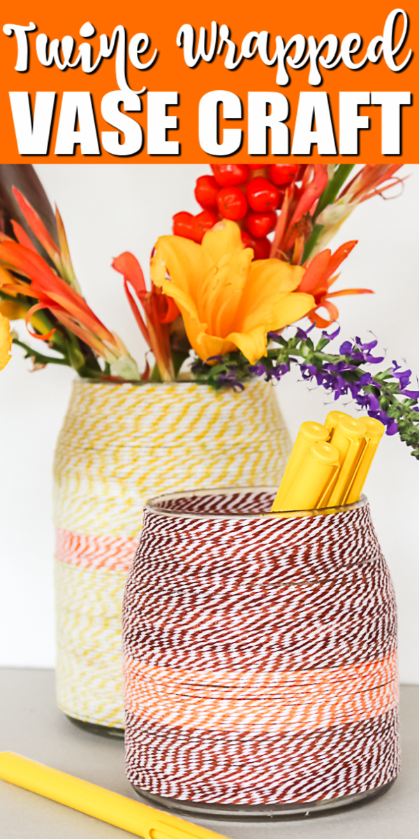Make a twine wrapped vase in minutes with this easy craft technique! You will love these vases for fall or any time of the year! #fall #vase #crafts #twine #bakerstwine