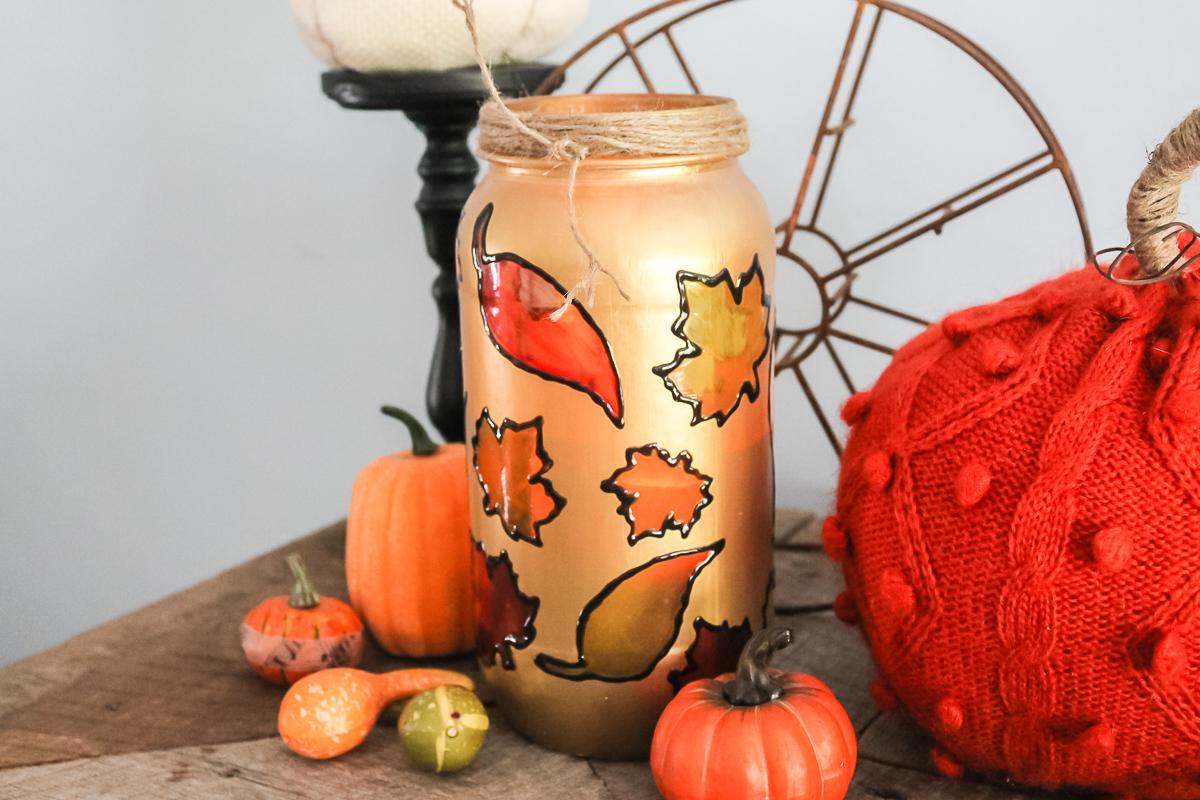 fall leaves mason jar
