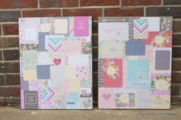 Create your own art -- Collage art using project life scrapbook supplies for a teen room!