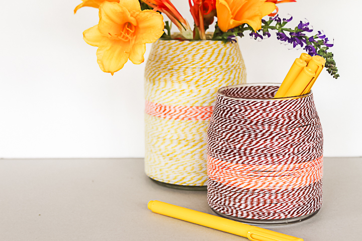 wrap a vase with twine