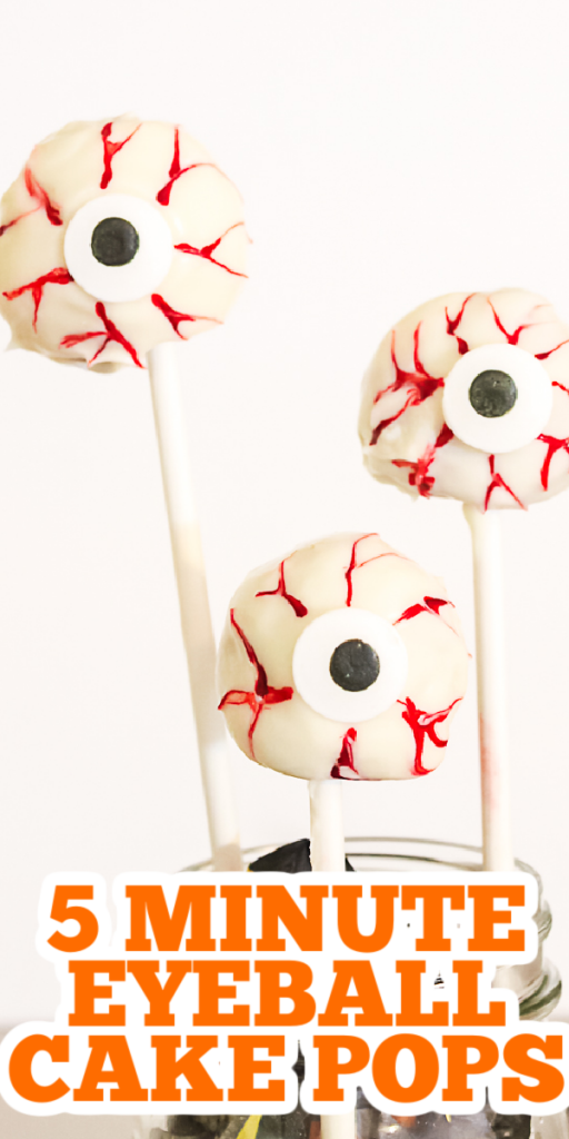 Make these eyeball cake pops in just 5 minutes with one secret ingredient! And you don't even have to turn on your oven! #eyeball #halloween #spooky #cakepops #fall
