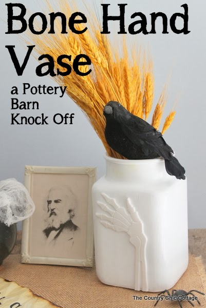 Bone Hand Vase Pottery Barn Knock Off -- come see how to make your own bone hand vase quickly and easily with this Halloween craft tutorial.