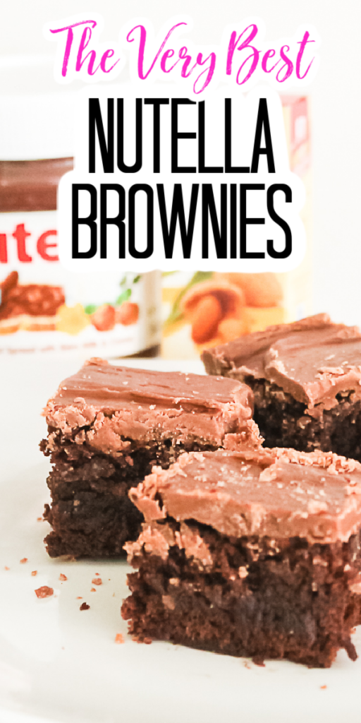 Enjoy the very best Nutella brownies with your family! These delicious brownies with Nutella frosting will bring that chocolate hazelnut flavor home! #nutella #brownies #dessert