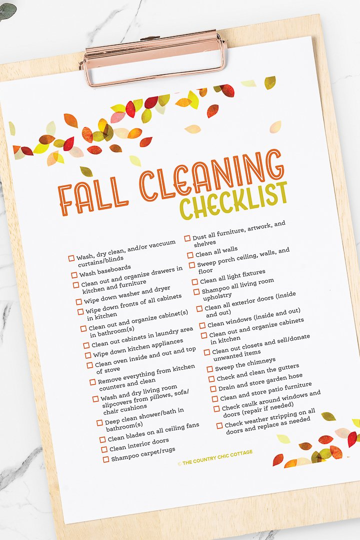 cleaning checklist for the holidays